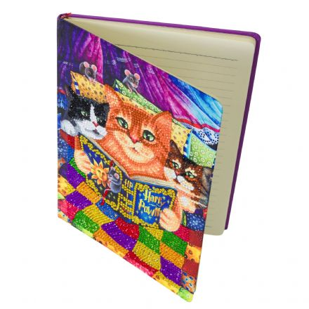 Crystal Art D.I.Y Notebook Cats design Kitty Bedtime Stories